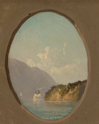 JOHN WILLIAMSON (American, 1826-1885) On the Hudson Oil on board 5-3/8 x 4-1/2 inches (13.7 x 11