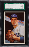 Baseball Cards:Singles (1950-1959), 1953 Bowman Color Carl Erskine #12 SGC 92 NM/MT+ 8.5 - Pop Two, None Higher! ...