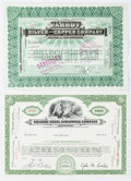 "Miscellaneous:Ephemera, Two Twentieth Century Stock Certificates including: Parrot Silverand Copper Company. 11.75"" x 8.5"", Butte [Montana], Au... (Total: 2Items)"