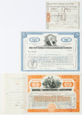Miscellaneous:Ephemera, [Railroad]. Group of Three Railroad Stock Certificates including:Mahoning and Shenango Railway and Light Company. 15.75... (Total: 3Items)