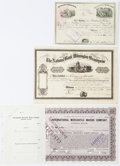 "Miscellaneous:Ephemera, Group of Three Stock Certificates including: Kensington NationalBank. 8.25"" x 5.75"", Philadelphia, December 28, 1872, f... (Total:3 Items)"