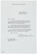 "Autographs:U.S. Presidents, Dwight D. Eisenhower Typed Letter Signed. One page, 7"" x 10.25"",New York, January 14, 1953, to Samuel Biddle thanking him f..."