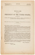 Miscellaneous:Ephemera, [Benjamin Harrison]. Booklet: Message of the President of theUnited States. 8vo, 18 pages. Printed for the firs...