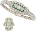 Estate Jewelry:Suites, Art Deco Diamond, Emerald, Platinum Jewelry Suite. ... (Total: 2Items)