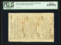 Colonial Notes:North Carolina, North Carolina December, 1771 Uncut Sheet of Three PCGS Gem New 65PPQ.. ...