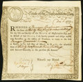 Colonial Notes:Massachusetts, Massachusetts Treasury Certificate Issued December 15, 1777 for £329s. . ...