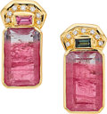 Estate Jewelry:Earrings, Tourmaline, Diamond, Gold Earrings, Paula Crevoshay. ...