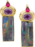 Estate Jewelry:Earrings, Multi-Stone, Gold Earrings, Paula Crevoshay. ...