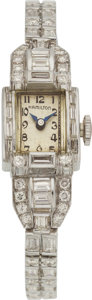 Estate Jewelry:Watches, Hamilton Lady's Diamond, Platinum Wristwatch, circa 1950. ...