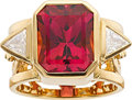 Estate Jewelry:Rings, Tourmaline, Diamond, Gold Ring, Paula Crevoshay. ...