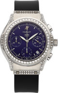 Estate Jewelry:Watches, Hublot Gentleman's Diamond, Stainless Steel, Rubber Strap MDM Chronograph Wristwatch, modern. ...