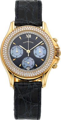 Mauboussin Lady's Diamond, Gold, Mother-of-Pearl, Leather, Stainless Steel Chronograph Wristwatch, modern
