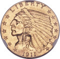 Indian Quarter Eagles, 1911-D $2 1/2 MS63+ NGC....
