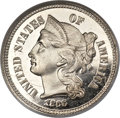 Proof Three Cent Nickels, 1866 3CN PR66 ★ Ultra Cameo NGC. CAC....
