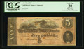 Confederate Notes:1864 Issues, T69 $5 1864 PF-2 Cr. 558A G/C Plate Letter Mismatch Error. . ...