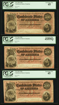 Confederate Notes:1864 Issues, T64 $500 1864 PF-3 Cr. 489A. Three Consecutive Examples.. ... (Total: 3 notes)