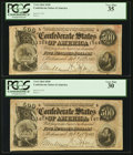 Confederate Notes:1864 Issues, T64 $500 1864 PF-2 Cr. 489 Two Examples.. ... (Total: 2 notes)