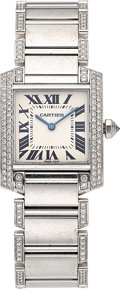 Estate Jewelry:Watches, Cartier Lady's Diamond, White Gold Tank Francaise Wristwatch. ...