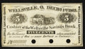 Obsoletes By State:Ohio, Wellsville, OH- The Wellsville Savings Bank 5¢ Dec. 1, 1862Remainder Wolka 2804-01. ...