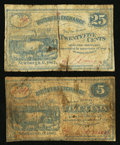 Obsoletes By State:Ohio, Newburgh, OH- A. Emery(?) at Butchers Exchange 5¢; 25¢ 1862 Wolka1956-01; -03. ... (Total: 2 notes)