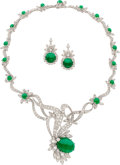 Estate Jewelry:Suites, Diamond, Emerald, Platinum Jewelry Suite. ... (Total: 2 Items)