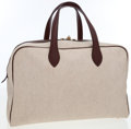 Luxury Accessories:Bags, Hermes 45cm Toile & Havane Clemence Leather Victoria TravelBag. ...