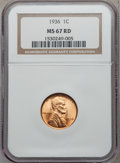 Lincoln Cents: , 1936 1C MS67 Red NGC. NGC Census: (636/1). PCGS Population (219/0).Mintage: 309,637,568. Numismedia Wsl. Price for problem...
