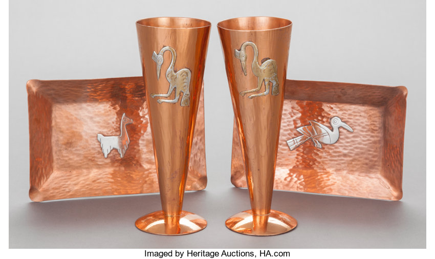 A Pair Of Vicky Peruvian Copper And Mixed Metal Bud Vases And Lot