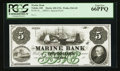 Obsoletes By State:Ohio, Toledo, OH- Marine Bank $5 UNL Wolka 2562-05 Special Proof. ...