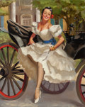 Pin-up and Glamour Art, GIL ELVGREN (American, 1914-1980). Woman in White Stepping Outof Carriage, circa 1946-47. Oil on canvas. 30 x 24 in.. N...