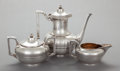Silver Holloware, American:Tea Sets, A THREE PIECE GORHAM SILVER-PLATED TEA SERVICE . Gorham Manufacturing Co., Providence, Rhode Island, 1877. Marks: GORHAM C... (Total: 3 Items)