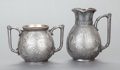 Silver Holloware, American:Other , A JAMES W. TUFTS SILVER-PLATED AESTHETIC STYLE CREAMER AND SUGARBOWL. James W. Tufts, Boston, Massachusetts, circa 1880. Ma...(Total: 2 Items)