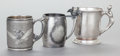 Silver Holloware, American:Cups, THREE AMERICAN SILVER-PLATED CUPS. Various makers, circa 1890.Marks: MERIDEN B. COMPANY, (scales in shield),139;ROGE... (Total: 3 Items)