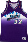 Basketball Collectibles:Uniforms, Karl Malone Signed Authentic Utah Jazz Jersey....
