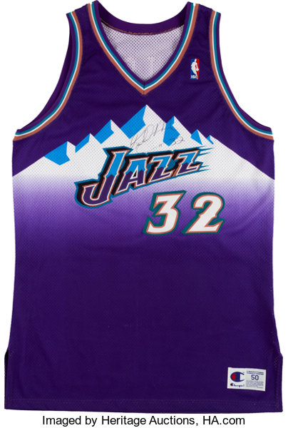 7082bfd5029 Basketball Collectibles:Uniforms, Karl Malone Signed Authentic Utah Jazz  Jersey.