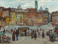 Fine Art - Painting, American:Modern  (1900 1949)  , FELICIE WALDO HOWELL (American, 1897-1968). Piazza del Campo,Siena, 1927. Oil on canvas. 30 x 40 inches (76.2 x 101.6 c...