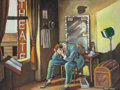 Paintings, ERNIE BARNES (American, 1938-2009). Merde (Actor in His Dressing Room). Oil on canvas. 18 x 24 inches (45.7 x 61.0 cm). ...