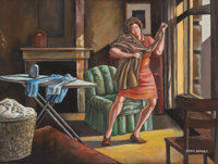 ERNIE BARNES (American, 1938-2009) Woman Ironing Oil on canvas 18 x 24 inches (45.7 x 61.0 cm)