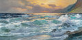 Maritime:Paintings, ALEXANDER DZIGURSKI (Russian/American, 1911-1995). CrashingWaves, California Coast. Oil on canvas. 24 x 48 inches (61.0...
