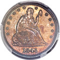 Proof Seated Quarters, 1845 25C PR64 PCGS. CAC. Briggs 5-E....