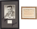 Music Memorabilia:Autographs and Signed Items, Elvis Presley Related - Big Bopper Photo and Autograph Display with Telegram From Colonel Parker (1959).... (Total: 2 Items)