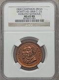 U.S. Presidents & Statesmen, 1868 Horatio Seymour Campaign Medal MS65 Red and Brown NGC.DeWitt-HS-1868-7. Copper, 28 mm....