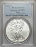 2008-W $1 Silver Eagle, Reverse of 2007 MS70 PCGS....(PCGS# 396411)