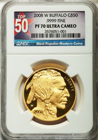 2008-W G$50 One-Ounce Gold Buffalo PR70 Ultra Cameo NGC....(PCGS# 393329)