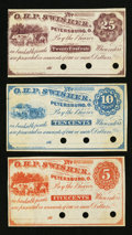 Obsoletes By State:Ohio, Petersburg, OH- O.H.P. Swisher 5¢; 10¢; 25¢ Remainders Wolka2192-01; -02; -03. ... (Total: 3 notes)