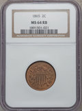Two Cent Pieces, 1865 2C MS64 Red and Brown NGC....