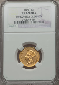 1870 $3 -- Improperly Cleaned -- NGC Details. AU....(PCGS# 7991)