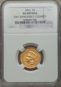 1863 $3 -- Obverse Improperly Cleaned -- NGC Details. AU....(PCGS# 7984)