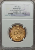 Liberty Eagles, 1847 $10 -- Harshly Cleaned -- NGC Details. AU....
