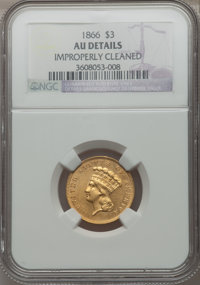 1866 $3 -- Improperly Cleaned -- NGC Details. AU....(PCGS# 7987)